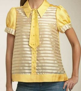 Marc by Marc Jacobs yellow blouse, silk, Size 10,